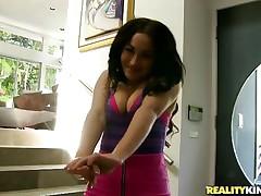 brunette hair sliding her wet lips on a hard cock