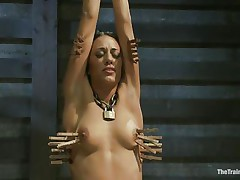 Hispanic girls are hot and the fact that Lyla is tied and punished makes her even hotter. Her executor putted clothespins on her body and he rubs her clitoris with a fake penis making her scream with pain and pleasure. She loves it and her tight body barely handles all that stimulation. Will she get fucked too?