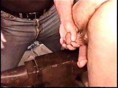 Hot muscle stud Derek Da Silva gets balls bashed on metallic anvil.