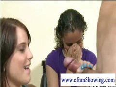 Horny cfnm girls playing with penis at the hair studio