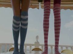 Skinny babes in socks enjoying free time