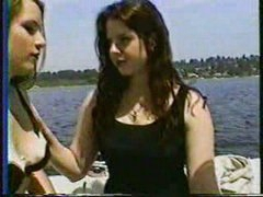 Two girls on boat