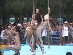 Nudist come out to party and watch the chicks dance