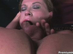 Hot woman Sara Stone with large scones gets her throat drilled with no mercy by guy with rigid cock. She takes his meat pole so unfathomable that touches his balls with her lips from time to time.