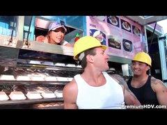 Muscular man butt fucks the slut on a food truck