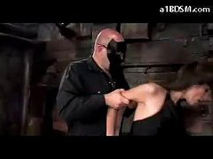 Brunette Girl In Nylons Spanked Getting Tied Up Engulfing Cock In The Dungeon