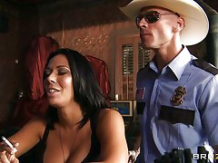 bald policeman fucking a hot brunette milf in the mouth