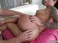 cutie dripping cum from her love tunnel with the help of her man