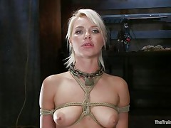 beautiful blonde hanging bound up is fucked