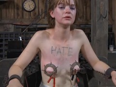 Poor whorish bitch getting her corpus tied up on the chair
