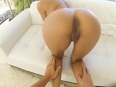 Tanned sexy chick Chloe Amour gets armored with toys and real dick