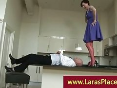 Liciking pussy over the balcony kitchen by a horny bold guy