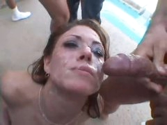 She has anal and does an outdoor bukkake