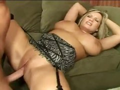 Huge titties curvy milf screwed on couch
