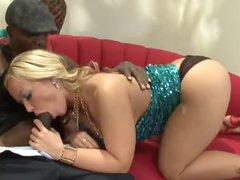 Curvy big tits blonde loves the black penis