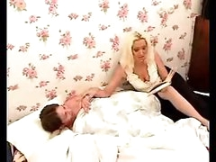 Hot mommy pleases lad with blowjob