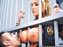 Big Tit Blonde prison guard forces inmate to fuck her wet pussy