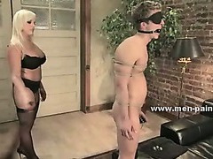 Domestic guy fascinating busty blonde learning what to do in female domination sex enjoying her spanks