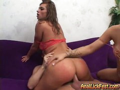 Rampant bitch Naomi rides her ass on a stiff cock